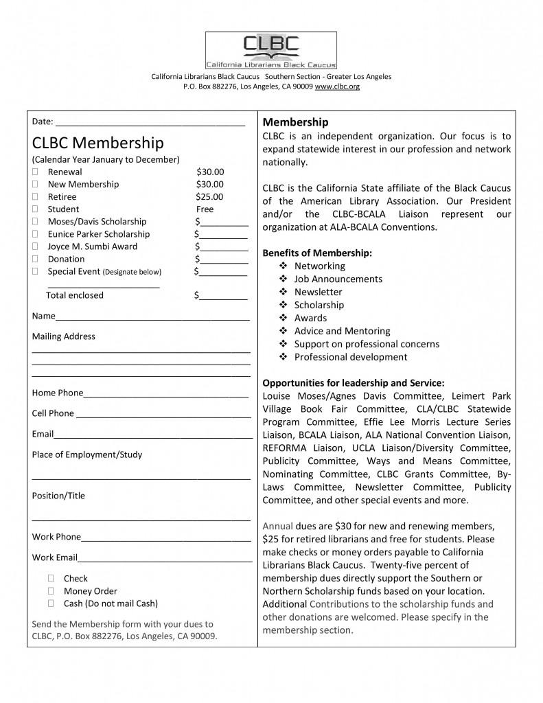 CLBC Membership Application